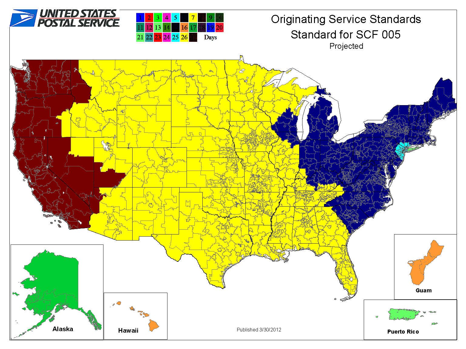 How Network Rationalization Speeds Up Standard Mail And Hastens - Us postal service delivery times map
