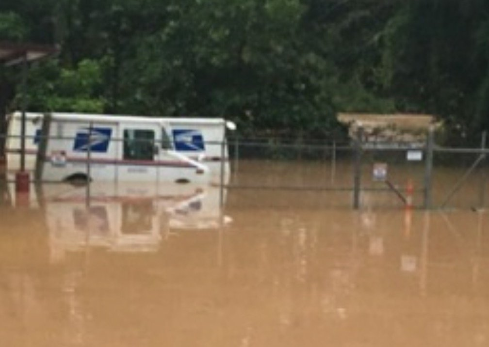 Elkview WV postal truck in flood